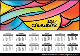 2014 Calendar Pastel Colours Free Vector