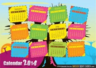 2014 Calendar Tree Free Vector
