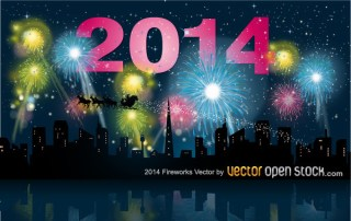 2014 Fireworks with City Skyline Free Vector