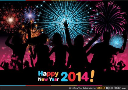 2014 New Year Celebration Free Vector