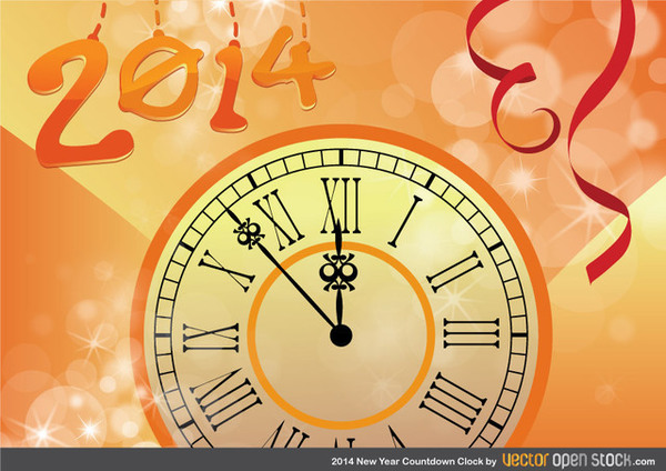 2014 New Year Countdown Clock Free Vector
