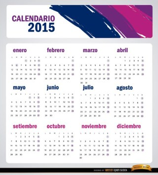 2015 Artistic Brushstrokes Calendar Spanish Free Vector