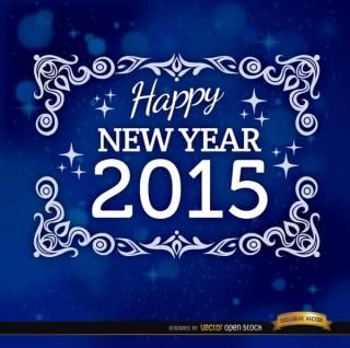 2015 Blue Floral Frame Background Free Vector