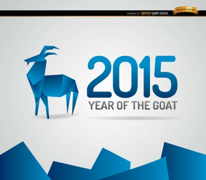 2015 Blue Origami Goat Year Background Free Vector