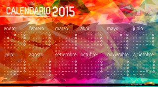 2015 Calendar Polygon Background Spanish Free Vector