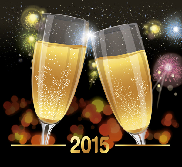 2015 Celebration Toast Background Free Vector