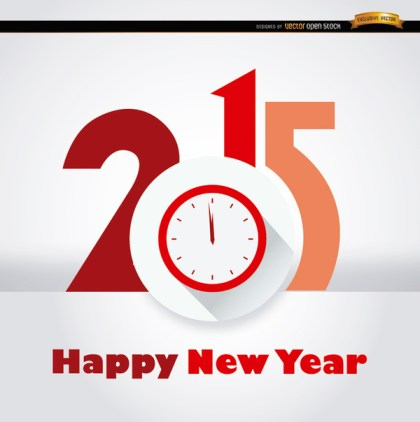 2015 Clock New Year Background Free Vector