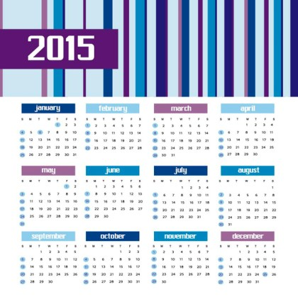 2015 Colored Bars Calendar Free Vector