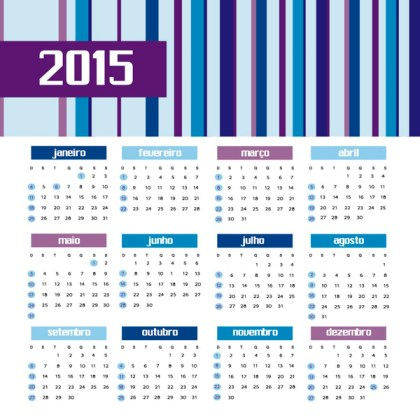 2015 Colored Bars Calendar Portuguese Free Vector