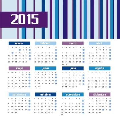 2015 Colored Bars Calendar Spanish Free Vector