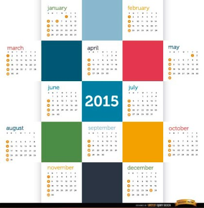 2015 Colored Squares Calendar Free Vector