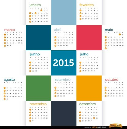 2015 Colored Squares Calendar Portuguese Free Vector