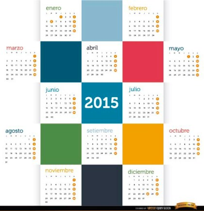 2015 Colored Squares Calendar Spanish Free Vector
