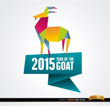 2015 Colorful Origami Year Goat Background Free Vector