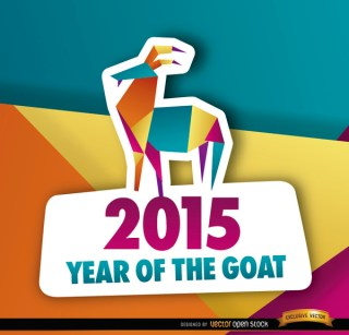 2015 Colorful Polygon Year Goat Background Free Vector