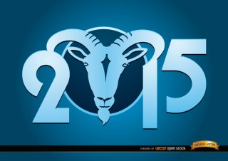 2015 Goat Year Blue Wallpaper Free Vector