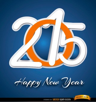 2015 Happy New Year Digits Free Vector
