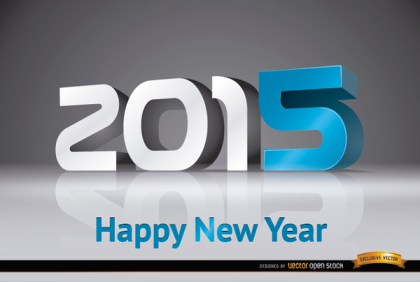 2015 New Year Modern Number Background Free Vector