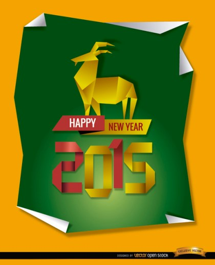 2015 Origami Goat Background Free Vector