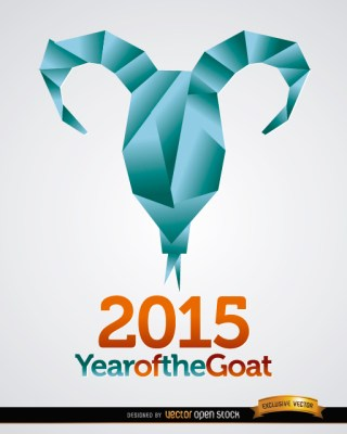 2015 Origami Goat Head Background Free Vector