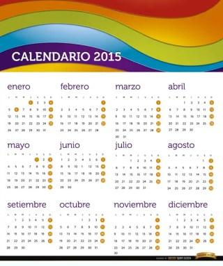 2015 Rainbow Calendar Spanish Free Vector