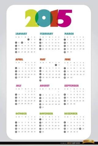 2015 Simple Calendar Free Vector