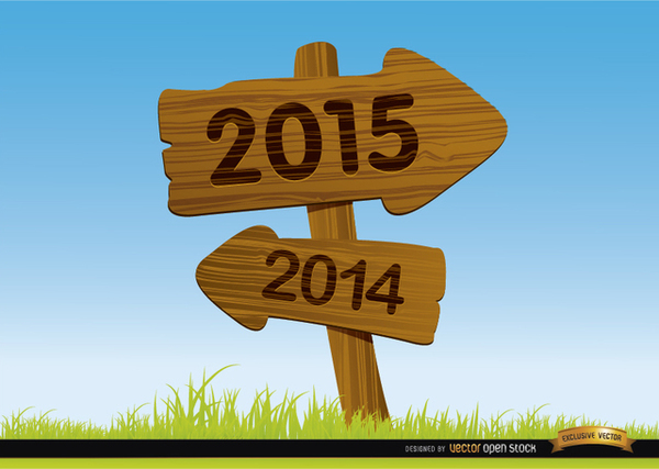 2015 Wooden Arrow Signs Background Free Vector