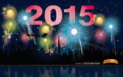2015 Year Fireworks Skyline Free Vector