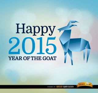 2015 Year Goat Origami Background Free Vector