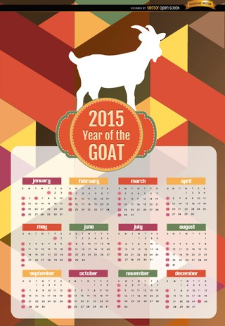 2015 Year Of Goat Polygon Calendar Free Vector