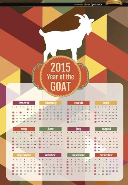 2015 Year Of Goat Polygon Calendar Free Vector