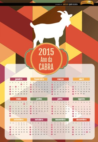 2015 Year Of Goat Polygon Calendar Portuguese Free Vector
