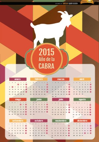 2015 Year Of Goat Polygon Calendar Spanish Free Vector