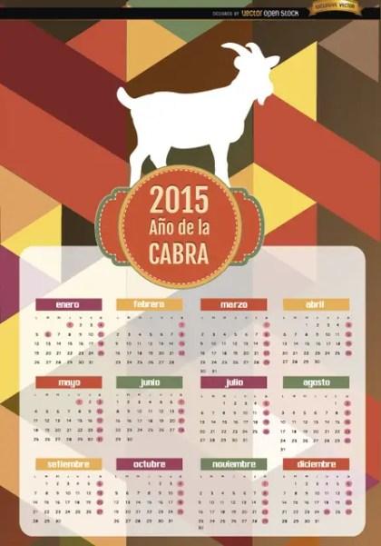 2015 Year Of Goat Polygon Calendar Spanish Free Vector