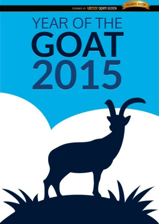2015 Year Of Goat Poster Free Vector