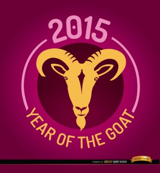 2015 Year Of Goat Round Emblem Free Vector