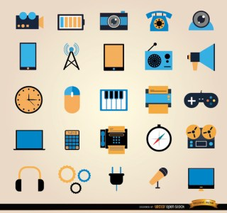 25 Communication Tools Icon Set Free Vector