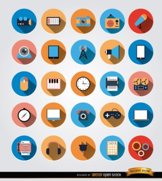 25 Multimedia Communication Circle Icons Free Vector