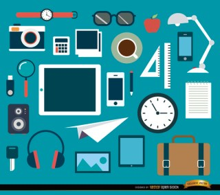 25 Office Objects and Elements Set Free Vector