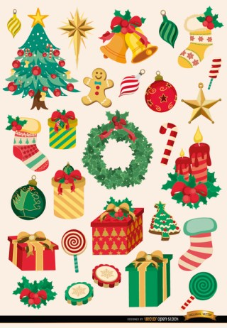 28 Christmas Elements and Objects Free Vector