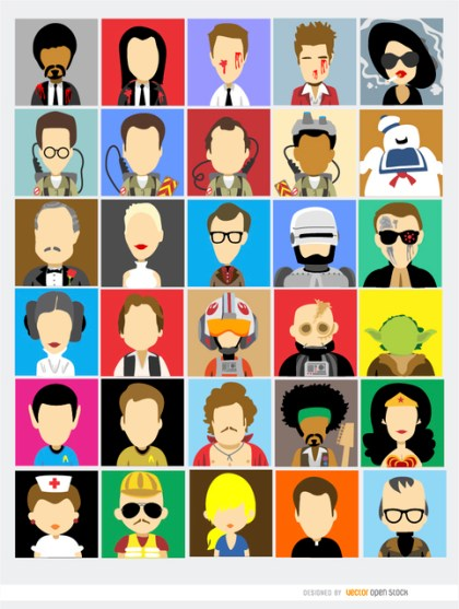 30 Avatars Film Famous Characters Free Vector
