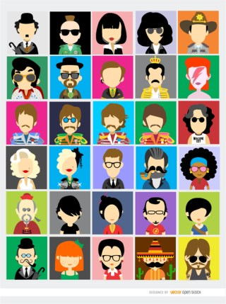 30 Famous People Avatars Free Vector