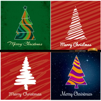 4 Abstract Christmas Tree Backgrounds Free Vector