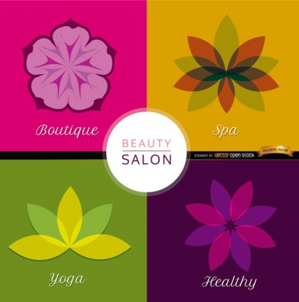 4 Beauty Flowers Backgrounds Free Vector