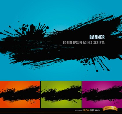4 Black Paint Splatter Backgrounds Free Vector