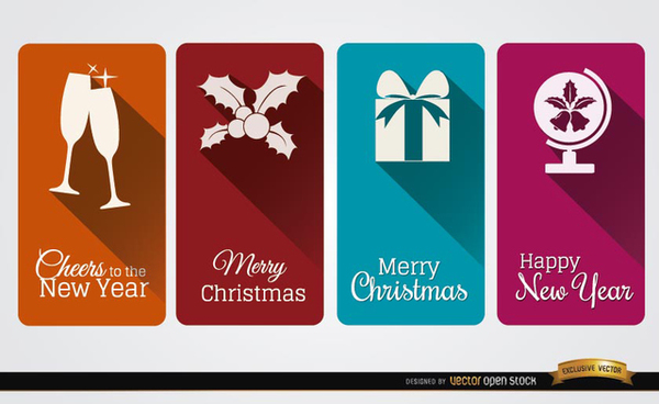 4 Christmas Celebration Vertical Cards Free Vector