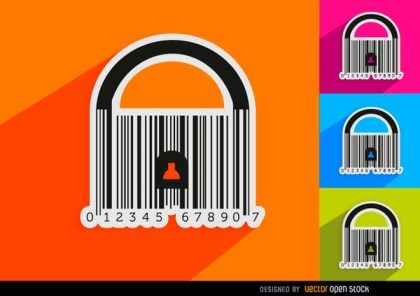4 Codebar Padlock Backgrounds Free Vector