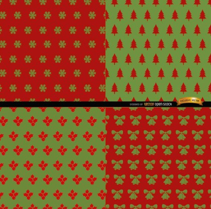 4 Red Green Christmas Patterns Free Vector