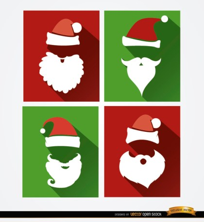 4 Santa Hat and Beard Backgrounds Free Vector