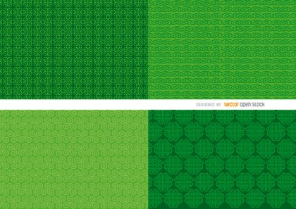 4 St. Patricks Green Background Patterns Free Vector